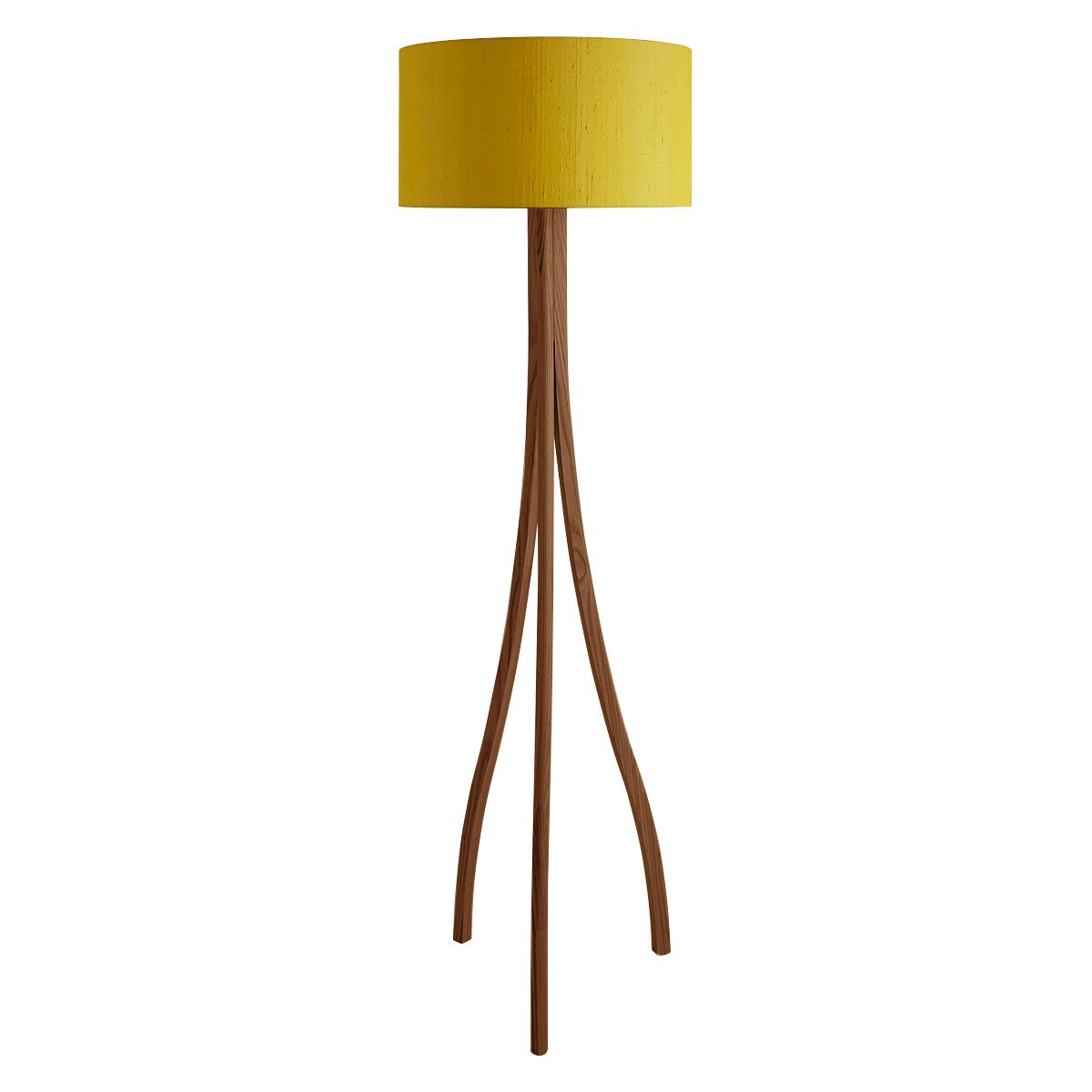 image-Harmony Walnut Stained Wooden Floor Lamp With Yellow Silk Shade, Walnut/Yellow