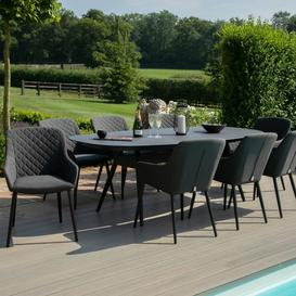 image-Maze Lounge Outdoor Fabric Zest Charcoal 8 Seat Oval Dining Set - PRE ORDER