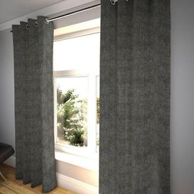 """image-Textured Chenille Charcoal Grey Curtains, 228cm(w) x 950cm(d) (90"""" x 374"""")"""