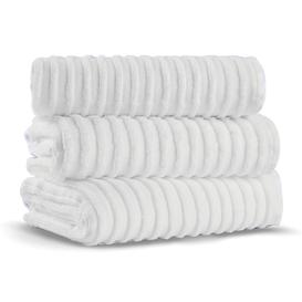 image-L'appartement - Terry Striped Towel - White - Hand Towel