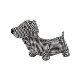 image-Doggy Doorstop with Houndstooth Print