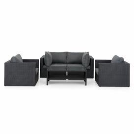 image-Osterhoudt 4 Seater Rattan Effect Corner Sofa Set Sol 72 Outdoor Colour (Frame): Black