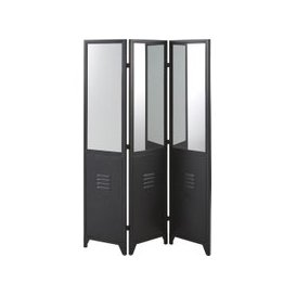 image-Black Metal Room Divider with Mirrors