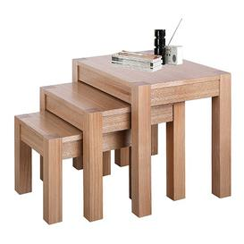 image-Delphini Wooden Set Of 3 Nest of Tables In Natural Ash