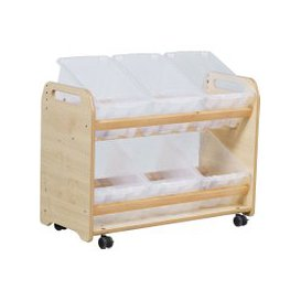 image-Playscapes Tilt Tote Storage Trolley With 6 Clear Tubs, Maple, Free Standard Delivery