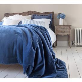 image-Sapphire Blue Velvet Quilted Bedspread - Soft Cotton Velvet...
