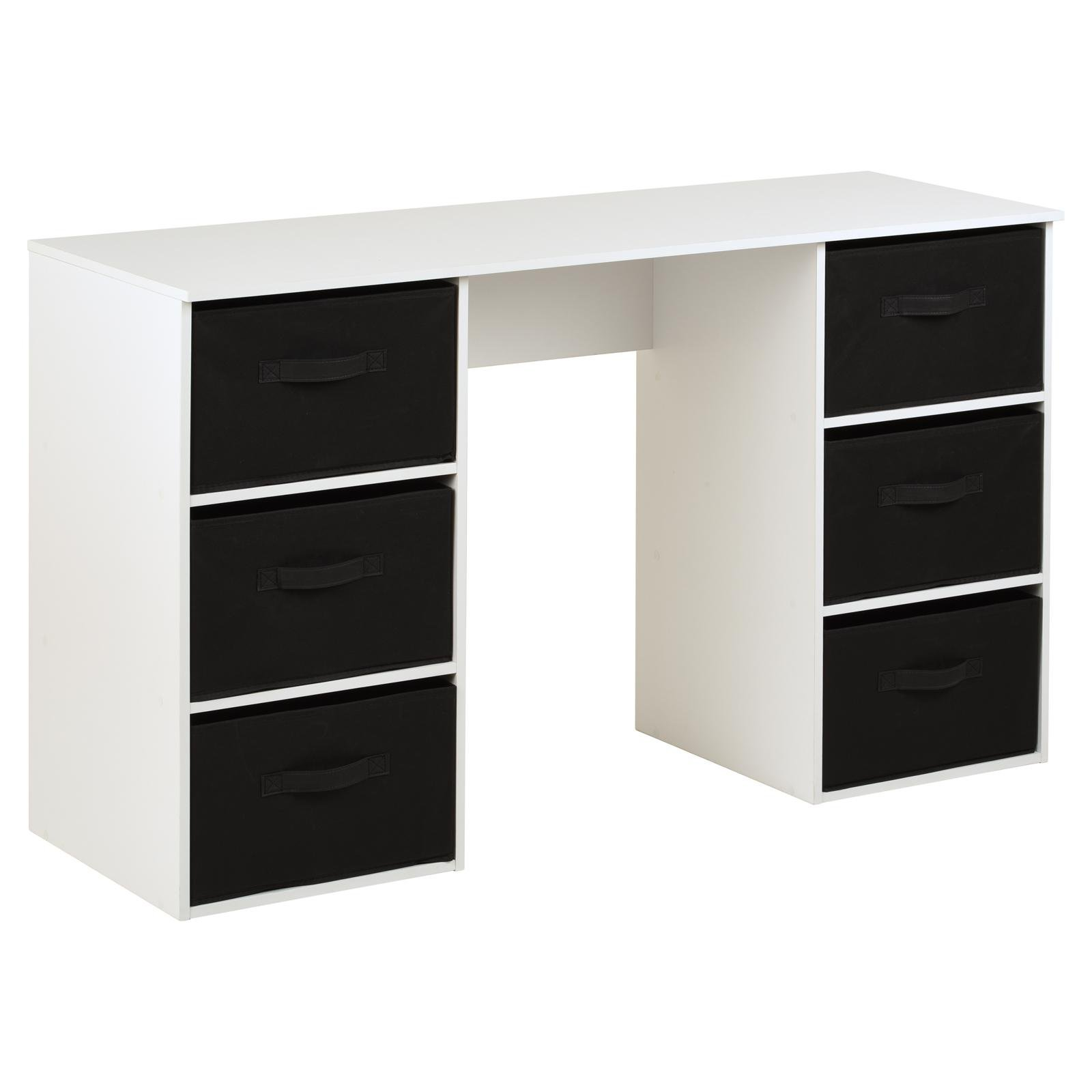 image-Hartleys Kids White Storage Desk & 6 Handled Box Drawers - Black