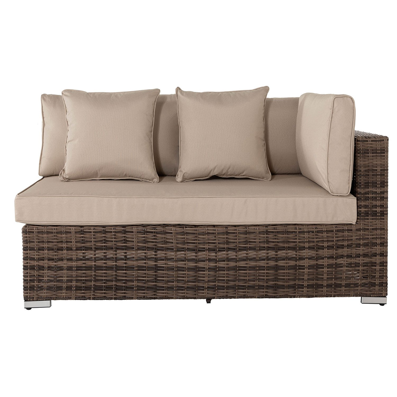 image-Monaco Rectangular Left As You Sit Rattan Garden Sofa in Premium Truffle Brown & Champagne - Premium Weave
