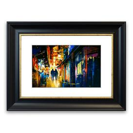 image-'City Night Lights' Framed Graphic Art East Urban Home Size: 50 cm H x 70 cm W, Frame Options: Grey