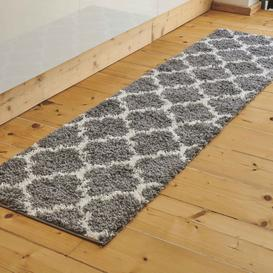 image-Grey Moroccan Trellis Shaggy Runner Rug - Florence