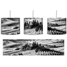 image-Beautiful Tuscan Landscape 1 Light Drum Pendant East Urban Home Shade Colour: Black/White