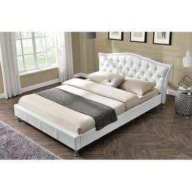 image-Foley Diamante Studded Italian Designer Upholstered Bed Frame Rosdorf Park Colour: White, Size: Double (4'6), Mattress Type: 19cm Double Memory Foam