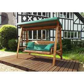 image-Galloway Swing Seat with Stand Union Rustic Cushion Colour: Green, Size: 196 H x 225 W x 124cm D