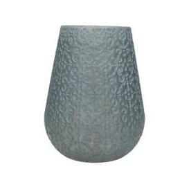 image-Fleur Patterned Blue Grey Glass Candle Holder - Large