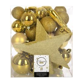 image-A by AMARA Christmas - Set of 33 Assorted Baubles and Tree Topper - Light Gold