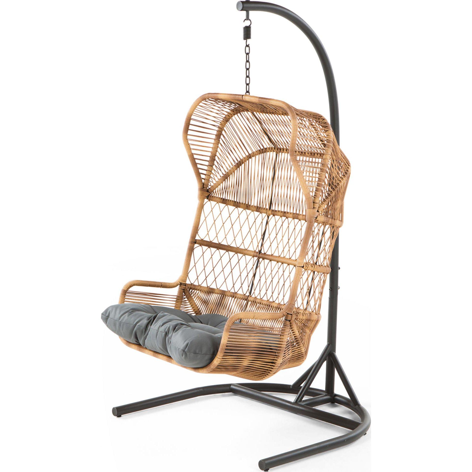 image-Lyra Garden Hanging Chair, Charcoal Grey