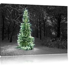 image-Christmas Tree in Winter Art Print on Canvas East Urban Home Size: 80cm H x 120cm W
