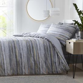 image-Silentnight Washed Stripe Duvet Set - Grey/Ochre