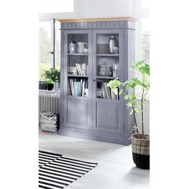 image-Acker Curio Cabinet August Grove Colour: Solid spruce, dolphin grey varnished with wreath, null: null