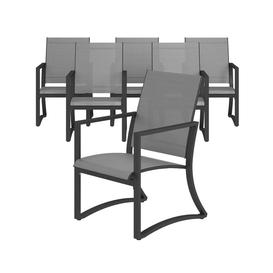 image-Cosco Outdoor Living Capitol Hill Patio Charcoal Grey with Light Grey sling Steel 6 Pack Dining Chairs