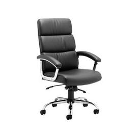 image-Crave High Back Black Leather Faced Executive Chair, Black