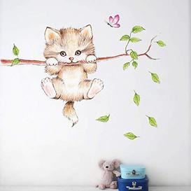 image-Esmee Cute Cartoon cat Meow Wall Sticker Wall Paper self-Adhesive Children's Room Cabinet Refrigerator - Brand New