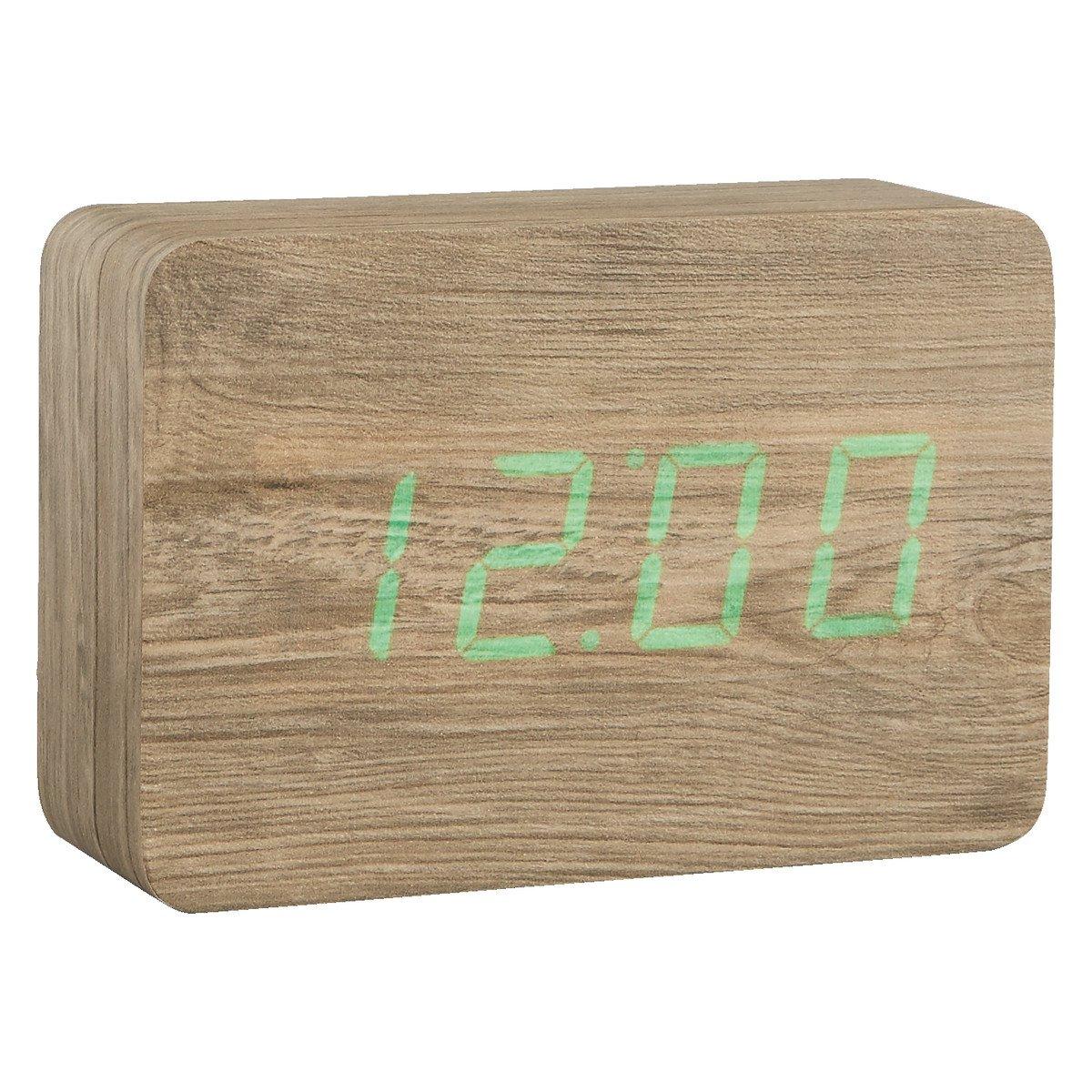 image-Click Clock Ash Led Alarm Clock, Ash
