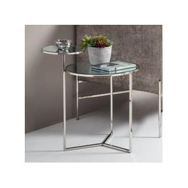 image-Kiana Mirrored Top Lamp Table With Polished Stainless Steel