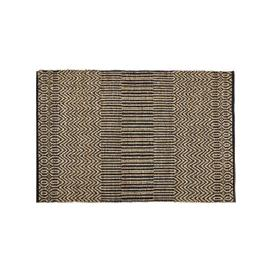 image-Ecru and Grey Cotton and Jute Rug with Print 140x200