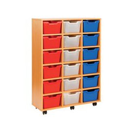 image-Cubby Tray Storage Unit With 18 Trays, Green, Free Standard Delivery