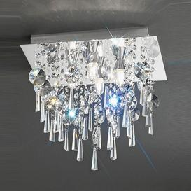 image-C5721 Square 4 Light Crystal Bathroom Flush Ceiling Light