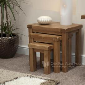 image-Rustic Solid Oak Furniture Nest of Tables