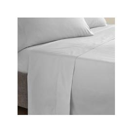 image-Dorma Egyptian Cotton 400 Thread Count Percale Flat Sheet Silver