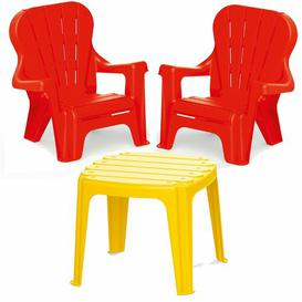 image-Children's 3 Piece Table and Chair Set Symple Stuff Colour: Red