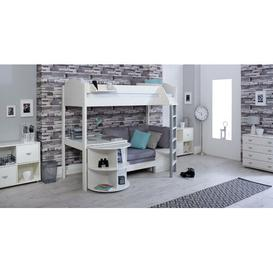 image-Trevino High Sleeper Loft Bed with Shelf and Desk Isabelle & Max Colour (Bed Frame): White, Colour (Fabric/Accessory): Silver