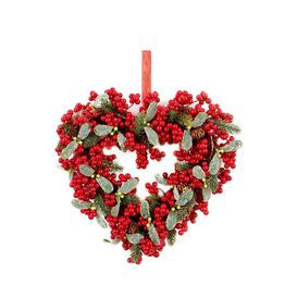 image-Berry and Leaf Heart Wreath