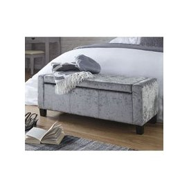 image-Dunston Crushed Velvet Ottoman Storage Blanket Box In Grey