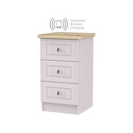 image-Vienna Kaschmir Ash 3 Drawer Bedside Cabinet with Integrated Wireless Charging