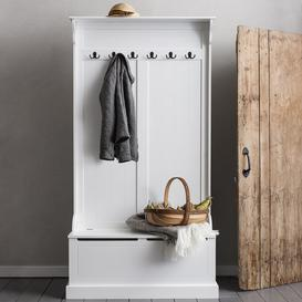 image-Brittany Hallway Bench and Coat Hook Shoe Storage in White