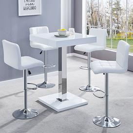 image-Topaz White Gloss Bar Table With 4 Coco White Bar Stools