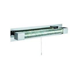 image-Polished Chrome Bathroom Led Wall Lamp With Crystal Glass Bar