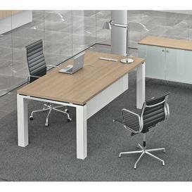 image-Francesca Writing Desk Ebern Designs Colour (Top/Frame): Natural Oak/White, Size: 75.5cm H x 180cm W x 80cm D