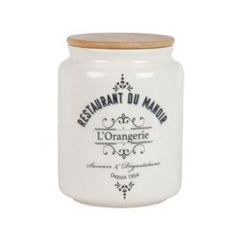 image-White Porcelain Jar with Print and Bamboo Lid