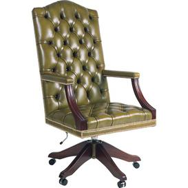 image-Montserrat High-Back Leather Executive Chair Rosalind Wheeler Colour: Green
