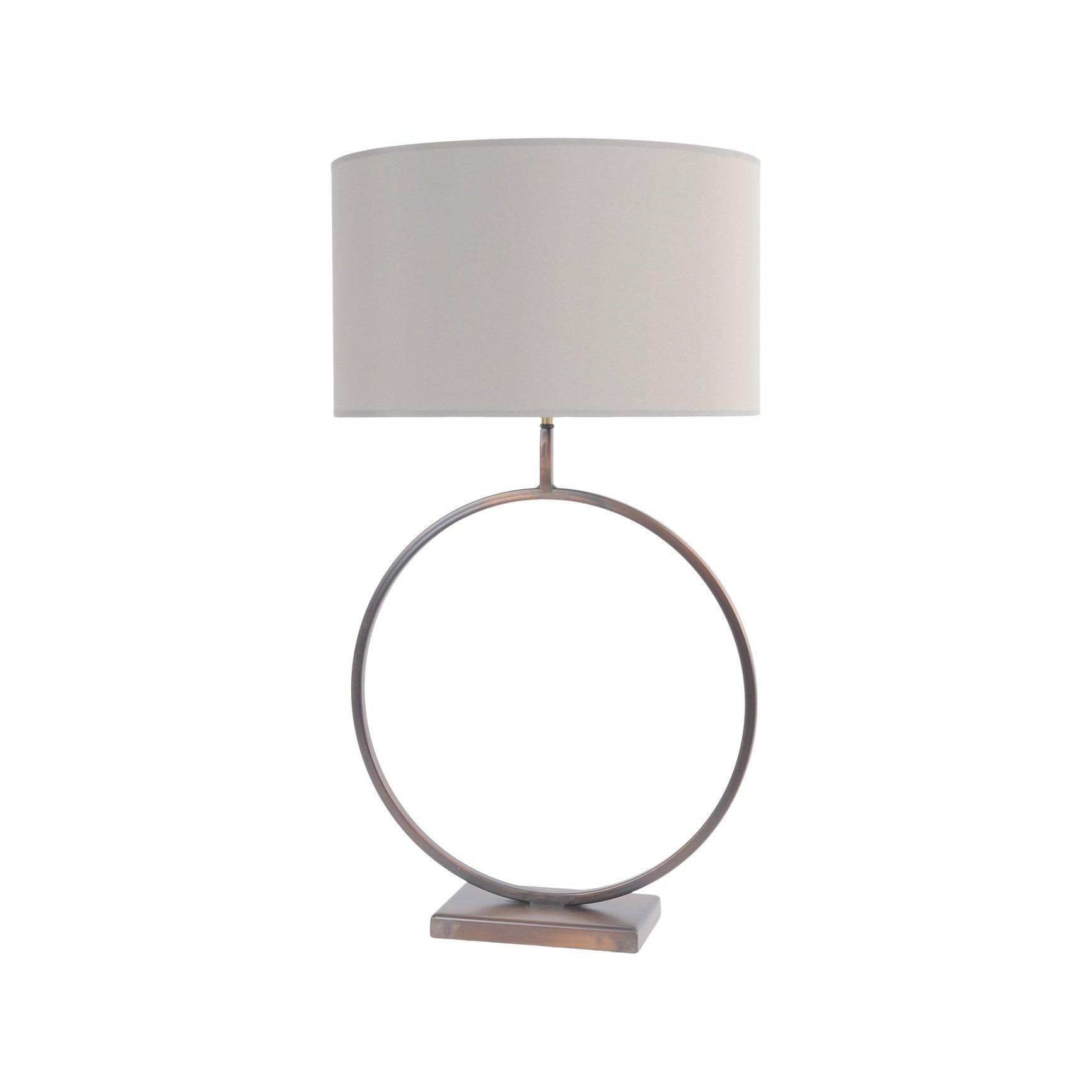 "image-Libra Fitzroy Bronze Circular Table Lamp (Base Only) 20\"" Shade"