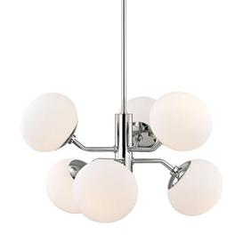 image-Hudson Valley Lighting Estee Steel 6 Light Chandelier (H134806-PN-CE)