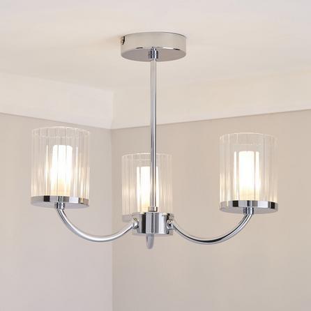 image-Mavia 3 Light Glass Bathroom Ceiling Fitting Silver
