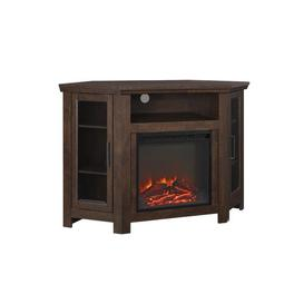 """image-Rena Corner TV Stand for TVs up to 55\"""" Brick & Barrow Finish: Traditional Brown"""