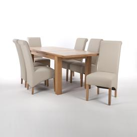 image-Solid Oak Extendable Dining Table with 6 Black Matt Leather Match Roll Back Dining Chairs