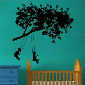 image-Kids On Swings Decal Wall Sticker East Urban Home Colour: Brilliant Blue, Size: Extra Large
